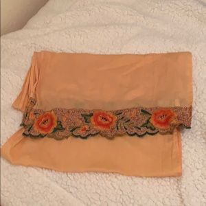 Lucky Brand Peach Embroidered Scarf